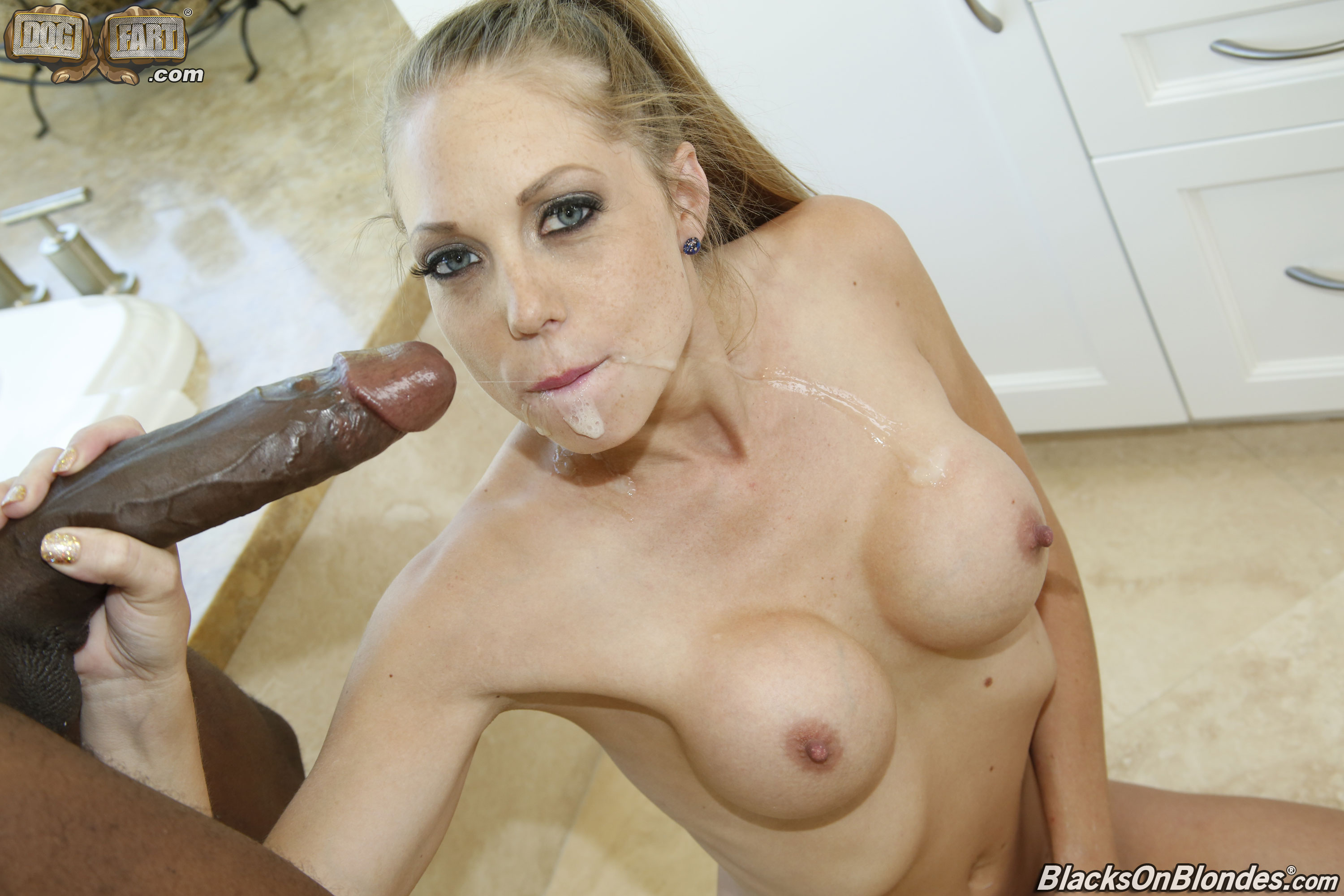 Blonde babe swallows after a hard fuck 4