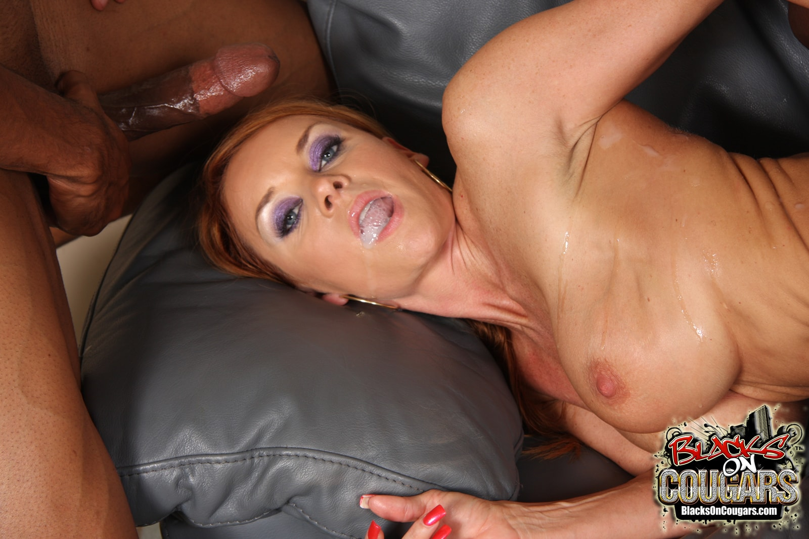 Janet mason in a ripped body stockings rides extra big cock
